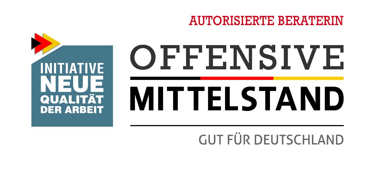 Das Logo der Offensive Mittelstand mit schwarzer Schrift auf weißem Grund. Brigitte Windt ist autorisierte Beraterin der Offensive Mittelstand. Gut für Deutschland.