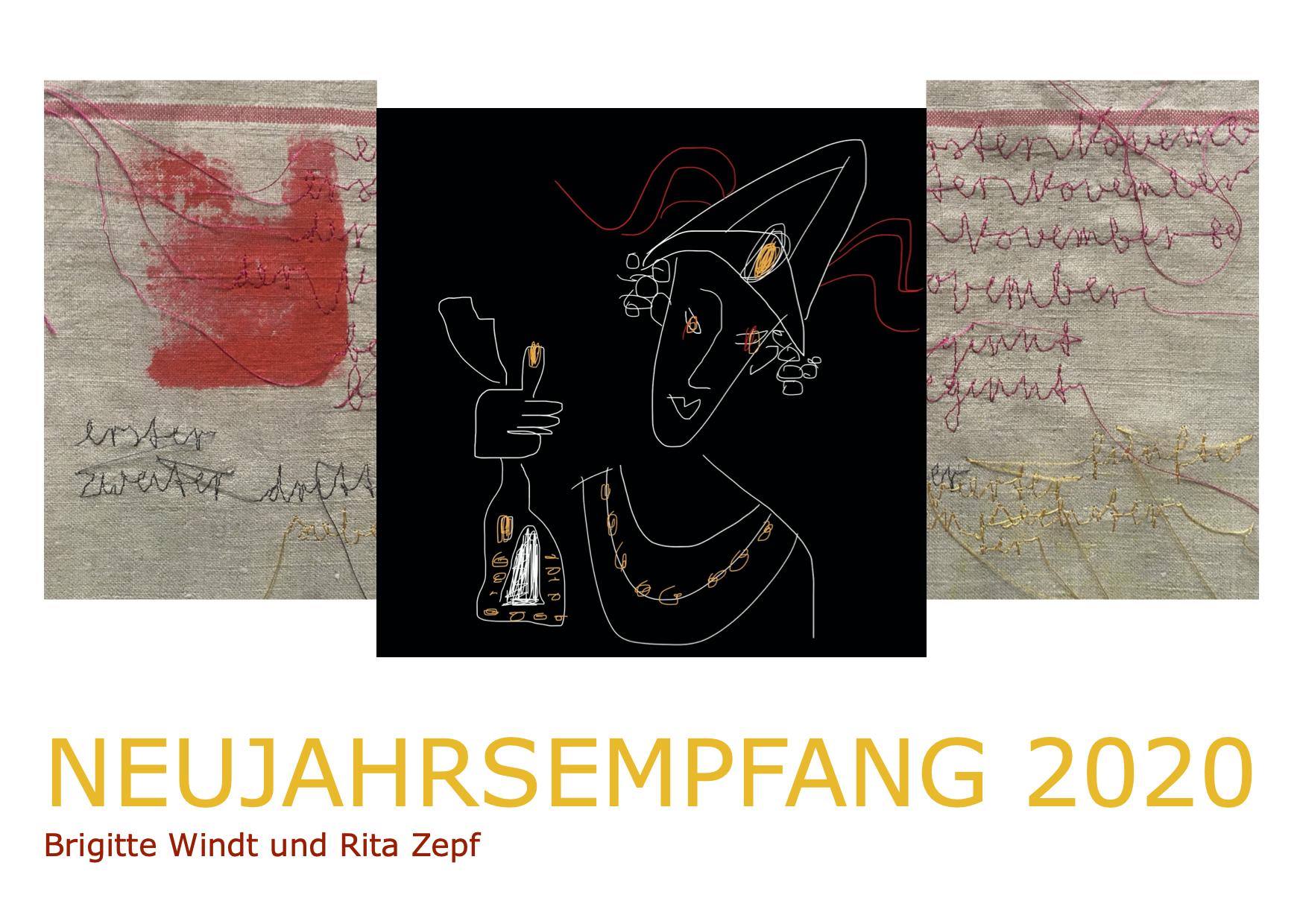 NEUJAHRSEMPFANG Brigitte Windt Texte und Illustrationen - Rita Zepf Textil Kunst - Eugen Braun Klavier - Berlin 2019